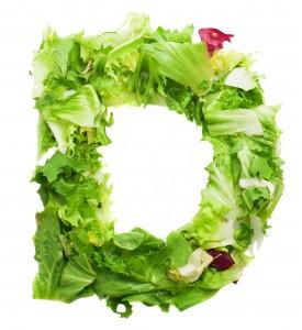 d lettuce letter on a white background
